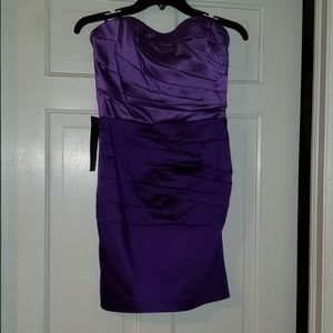 Purple strapless satin dress